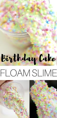 Homemade floam recipe for kids. Easy to make homemade floam is a DIY slime recipe that kids love. Easy to make slime is perfect for any day of the week. Our birthday cake themed floam recipe is fun for a celebration.