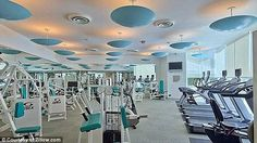 Working out: The building's residents have access to a state-of-the-art fitness center complete with a sauna