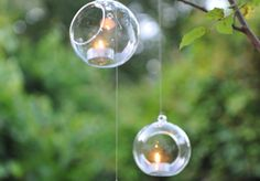 hanging glass BAUBLES with Led candle