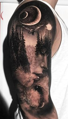 Beautiful Surrealist Double-Exposure Tattoos Mash Up People, Architecture & Nature jaw-dropping double exposure tattoo ideas © tattoo artist Jak Connolly Jak connolly ? Realistic Tattoo Sleeve, Nature Tattoo Sleeve, Wolf Tattoo Sleeve, Sleeve Tattoos, Tattoo Nature, Galaxy Tattoo Sleeve, Forest Tattoo Sleeve, Trendy Tattoos, Unique Tattoos