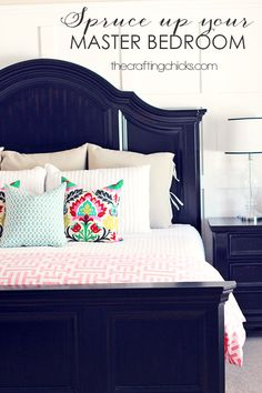 Spruce Up Your Master Bedroom #decor #pillows~ Is the bed navy or black? Makes me think maybe I want navy.