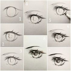curtidas, 24 comentrios - Ivy s diary (ivyesre) no (Anime eye drawing tutorial step by step.) The steps thats going to be explained, goes in order Realistic Eye Drawing, Manga Drawing, Drawing Eyes, Drawing Sketches, Baby Drawing, Deep Drawing, Eye Drawing Tutorials, Drawing Techniques, Art Tutorials