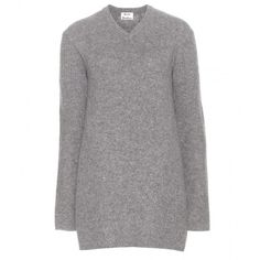 Acne Studios Palmita Wool Sweater Dress ($455) ❤ liked on Polyvore featuring dresses, sweaters, grey, woolen dress, grey sweater dress, acne studios, gray wool dress and grey wool dress