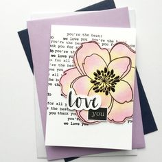 """""""And here is the card with magnolia:) similar design to previous one, but here I also used stamps :) / Thinking Of You Today, Large Flowers, You're Awesome, Creative Cards, Love Is All, Magnolia, Hand Stamped, Cardmaking, Greeting Cards"""