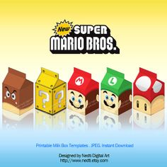 Printable Milk Box Template, Super Mario Bros, Party Supplies, Instant Download, JPEG, A4 on Etsy, $5.00
