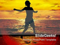 Jump Of Joy Beach PowerPoint Backgrounds And Templates 0111 #PowerPoint #Templates #Themes #Background