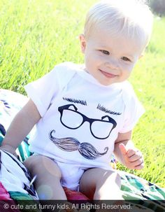 mustache eyeglasses eyebrows  graphic printed by cuteandfunnykids, $15.88