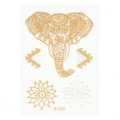 Yoins Elephant Flower Pattern Metallic Temporary Body Tattoo Sticker ($2.01) ❤ liked on Polyvore featuring accessories, body art and silver