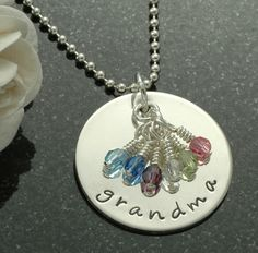 Grandma necklace with birthstones Personalized by divinestampings, $48.00. inspiration.