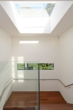 Great long landscape window on the stairs.