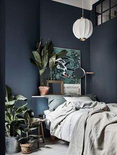 Un mur peint en bleu marine