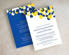Blue and yellow polka dot wedding invitations, sapphire blue, cobalt blue wedding invitation, modern polka dots, yellow invites, Kendall v2