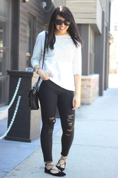 Lace up flats, cat eye sunglasses, striped tee, distressed jeans