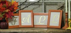 Fall Decor Wood Frames with Gold Letters Mantel by ThrownTogether, $49.00