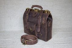 FREE SHIPPING doctor bag brown doctors bag leather by LeatherVM