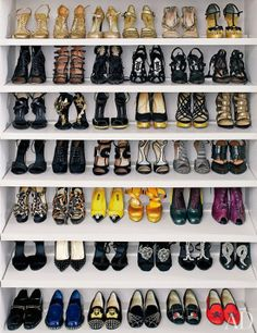 Gorgeous selection of shoes, I want it, closet and all! Inside Nina Garcia's Closet