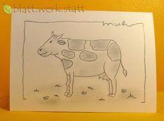 Weiteres - Grusskarte Kuh individuell handgemalt - ein Designerstück von blattwerkstatt bei DaWanda