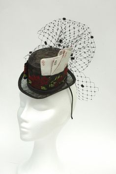 mini hat with cards. las vegas inspired burlesque top hat with silk cards.