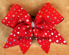 Silver and Red Cheer Bow by MyFierceBows on Etsy, $10.00
