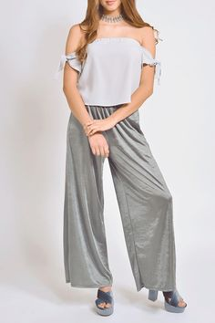 Grey off shoulder top the slevees has two stripes that you create a knot as tight as you want  tight on top loose at teh bottom  2.5cm elastic arround the chest  12cm invisible zipper at the centre back 36cm lenght  Offshoulder Grey Top by re:named. Clothing - Tops - Off The Shoulder Mexico