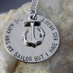 The Navy Has my Sailor But I have His Heart by WireNWhimsy on Etsy, $26.00
