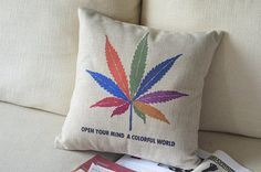 The Weed Marijuana Leaf linen cushion pillow cover by WarmthCanvas