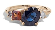 Custom Heirloom Blue Sapphire Cluster Ring