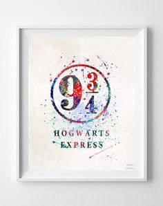 Harry Potter Print Hogwarts Express Watercolor by InkistPrints Poster Harry Potter, Theme Harry Potter, Harry Potter Bedroom, Harry Potter World, Harry Potter Hogwarts, Cadeau Harry Potter, Harry Potter Platform, Dorm Decorations, Creations
