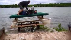The cheap and easy way to build your own pontoon boat using an old sailboat. This old hobie cat was wrecked in a storm so converted it into and electric pont. Electric Pontoon Boat, Family Boats, Floating Boat, Boat Building, Catamaran, Picnic Table, Fishing, Cats, Diy