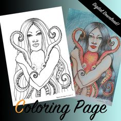 """COLORING PAGE: """"Hug your inner octopus"""". Coloring for adults, Instant DOWNLOAD, printable, girl, octopus, hug. by ArtLisbethThygesen on Etsy"""