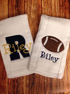 Set of 2 Personalized Burp Cloths - Diaper Cloths - Baby Boy - Monogrammed - Gift Set - football - Notre Dame