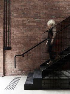 Chessell Street by BayleyWard - Australian Interior Design Awards Stair Handrail, Staircase Railings, Wood Stairs, Staircase Design, Stairways, Australian Interior Design, Interior Design Awards, Industrial Stairs, Kitchen Industrial