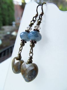 Blue Stone Heart and Czech Glass Beaded Niobium by BeadedTail, $18.00