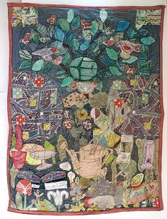 by Anne Kelly The Good Earth, found and vintage fabric, ribbon, canvas, trim, hand and machine stitch, 2013, 130 x 110 cm, sewn textile collage. Photo: Anne Kelly (interview)