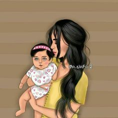Girly_m Mother and child illustration Mother Daughter Art, Mother Art, Mother And Child, Girly M, Maternity Pictures, Pregnancy Photos, My Cute Love, Sarra Art, Girly Drawings