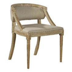 Furniture Classics LTD Carved Oak and Linen Arm Chair