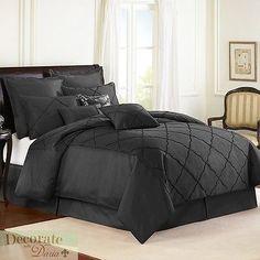 DIAMONTE QUEEN BLACK COMFORTER 4Pc Set Veratex Reversible Bedding Sham Skirt New
