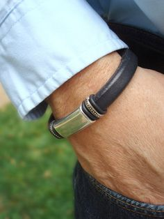 Men's Black Licorice Leather Bracelet [ HGNJShoppingMall.com ] #accessories