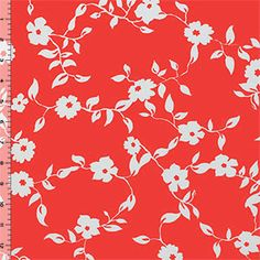 Floral Vines on Coral Techno Scuba Knit Fabric