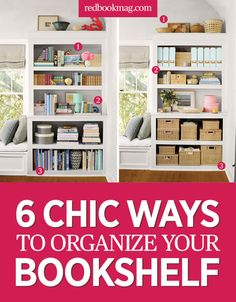 6 Organization Ideas for Your Bookshelf - Organize Your Home - Give your office an extra oomph with decoration tips from the pros at redbookmag.com.