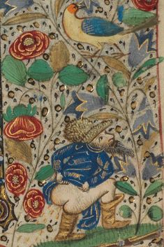 Paris, Bibliothèque de l'Ecole des Beaux-Arts, Ms. 0482, detail of f.139 (lop-sided butt). Book of Hours. 15th century