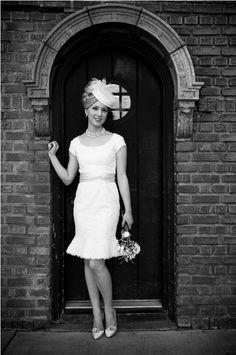 Short wedding dress  Pillbox hat