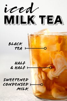 A refreshing iced milk tea made with black tea sweetened condensed milk and half & half. Its sweet creamy and hits the spot on hot summer days. Refreshing Drinks, Summer Drinks, Cold Drinks, Fun Drinks, Healthy Drinks, Beverages, Milk Tea Recipes, Iced Tea Recipes, Coffee Recipes