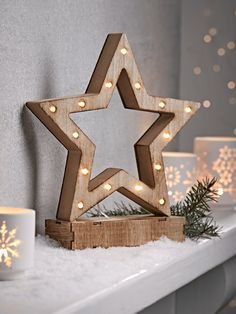 Whitewashed Wooden Lit Star