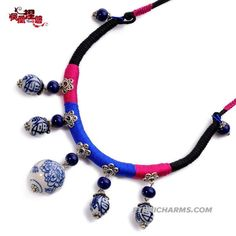Necklace womens jewelry retro blue and white porcelain ethnic necklaces wax line ethnic jewelry