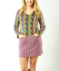 Another great find on #zulily! Green & Red Geometric Floral Dee Dress #zulilyfinds
