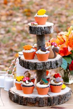 Fall Cupcakes & Wood Cake Stand great for a Thanksgiving Party. Get a fabulous chocolate cupcake and peanut butter icing from Sweetopia. Wooden Cake Stands, Wood Cake, Chocolate Peanut Butter Cupcakes, Peanut Butter Frosting, Cupcake Recipes, Cupcake Cakes, Icing Recipes, Cup Cakes, Cupcake Toppers