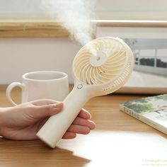 BH USB Mini Handheld Spray Fan, Humidifier Fan Rechargeable Portable Personal Cooling Mist Fan for Desktop Tabletop Floor Office Room (White ) Goods And Service Tax, Goods And Services, Ac Cooler, Fans For Sale, Hand Held Fan, Air Humidifier, Water Spray, Electronic Gifts, Mists