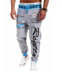 c5b78c2e Male Trousers New Men'S Casual Letters Loose Sweatpants Spell Color Printed  Lace Trousers Joggers Men'S Pants
