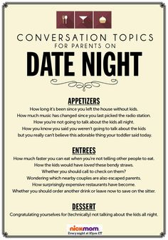 Common conversation topics for parents on date night.